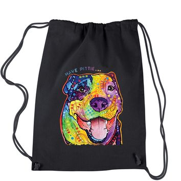 Have Pittie Neon Pitbull Drawstring Backpack