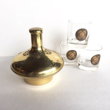 Vintage Brass Nautical Musical Decanter Made in Sweden, Mid Century Brass Decanter