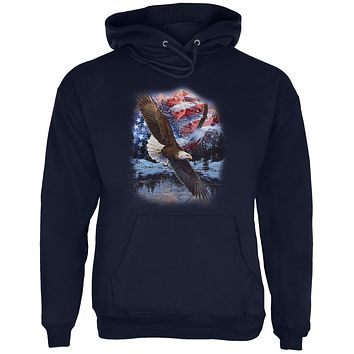 4th Of July American Flag Bald Eagle Mens Hoodie