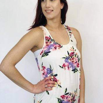 Floral Tank - Ivory