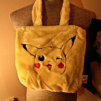 90s Pokemon furry Pikachu hand bag