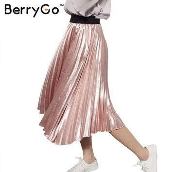 Berrygo 2016 Winter Autumn Elastic High Waist Skirt Casual Smooth Pink Accordion Pleated Skirt All Match Satin Black Women Skirt