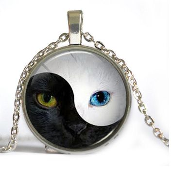 Ying Yang Cat Necklace -  Black and White Cat Face Pendant Unisex