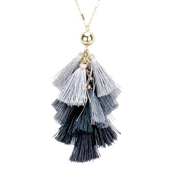 Black and Gray Long Tassel Necklace