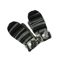 Wool Sweater Mittens, Recycled Mittens Women's Black Gray WARM Handmade in Wisconsin Fleece Lined Gift Upcycled Zebra Stripe