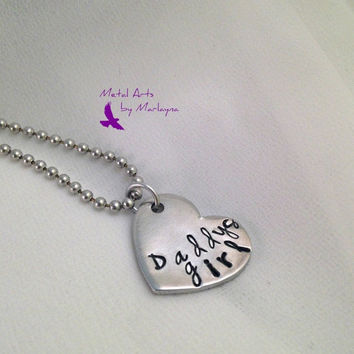 "SALE Hand Stamped Necklace ""Daddys girl"" Pendant Gifts for Dad Fathers Day Gift"