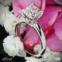 "Platinum Vatche ""5th Avenue"" Solitaire Engagement Ring for Princess Cut Diamonds"