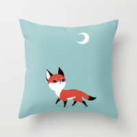 Moon Fox Throw Pillow by Freeminds