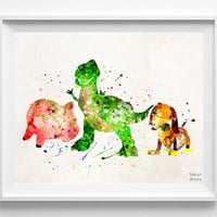 Toy Story Print, Rex, Slinky Dog, Hamm, Disney Poster, Watercolor Art, Pixar Print, Wall art, Home Decor, Fathers Day Gift