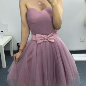 Cheap Price Light Purple Short Prom Dresses Sweetheart Tulle Cocktail Party Dresses Sash Bow Lovely Homecoming dresses