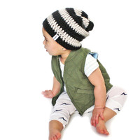 Black and Cream Crochet Slouch Baby Beanie Any Size 0-8 Years Fitted or Slouchy style