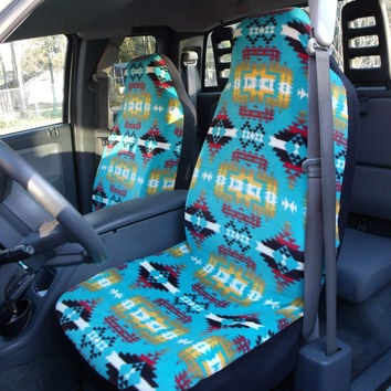 1 Set of Blue Artez Print Seat Covers and 1 Piece of Steering Wheel Cover Custom Made