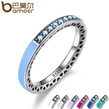 BAMOER 925 Sterling Engagement Silver Radiant Hearts Ring Air Blue Enamel & Sky Blue Synthetic Spinel Women Ring Jewelry PA7620