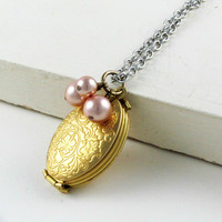 Folding Locket Pendant Necklace with Rose Gold Pearls