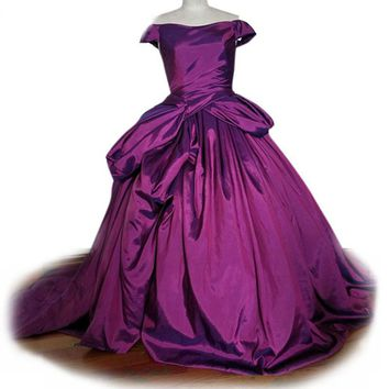 Cap Sleeve taffeta Purple Prom Dresses lace up Prom Gowns Graduation Party Dresses ball gown Pageant dress