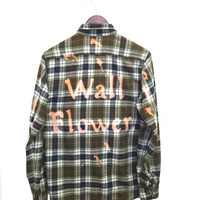 Wall Flower Shirt in Green Plaid Flannel