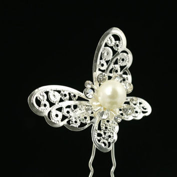 Butterfly U-shaped pin w/ white pearls,bridal hair pin, wedding head piece, bride hair up do