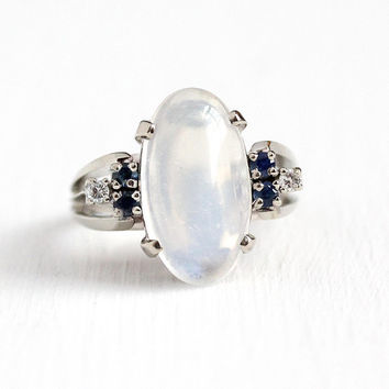 Vintage Gemstone Ring - 14k White Gold Genuine Moonstone Cabochon + Sapphire Gem Diamond Statement - Retro Size 8 Cocktail Ring Fine Jewelry