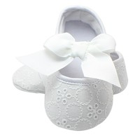 Christening Pre-walker Shoes First Walkers Pink Bowknot Baby Girl Lace Shoes Toddler Prewalker Anti-Slip Shoe Simple Baby Shoes