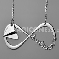 INFINITY One Direction, Forever Directioner Necklace with Harry Styles Paper airplane Necklace