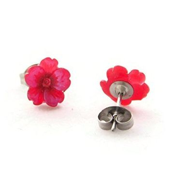 Tiny Sakura Flower Hypoallergenic Stud Earrings for Sensitive Ears