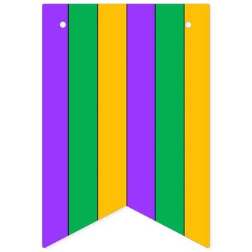 Mardi Gras Stripes Pattern Purple Green Yellow Bunting Flags