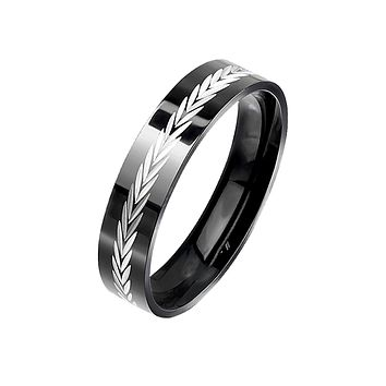 Ethereal in Black - Men's Arrow Diagonal Cut Black PVD Stainless Steel Ring
