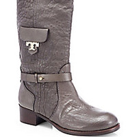 Tory Burch - Kullman Pebbled Leather Mid-Calf Boots - Saks Fifth Avenue Mobile