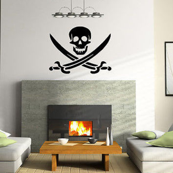 PIRATE SIGN SKULL WITH CROSS SWORDS WALL VINYL STICKER  DECALS ART MURAL T455