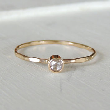 Diamond Ring, White Diamond Ring, 14k Gold Ring, Engagement Ring, Diamond Band, Stacking Ring, Unique Engagement Ring, Diamond Stacker