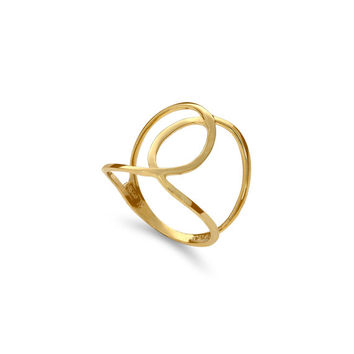 14k solid gold swirl ring. index finger ring, middle finger ring, knuckle ring. fancy ring