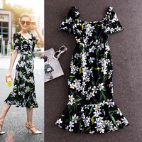 Casual Floral Puff Sleeve Ruffle Midi Dress