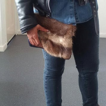 recycled fur and leather clutch, indigo blue leather, foldover clutch bag, envelope clutch bag, leather clutch, fur clutch, furry pouch