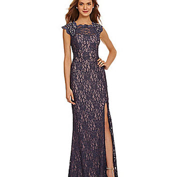 Jodi Kristopher Beaded Sequin Lace Gown - Steel Blue