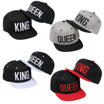 VORON2017 new KING QUEEN Snapback Hat Acrylic Couple Baseball Cap Men Women Lovers Gifts For Girl Boy Friends Hip Hip Cap 4color