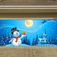 Christmas Garage Door Cover Banners 3d Snowman Holiday Outside Decorations Outdoor Decor for Garage Door G49