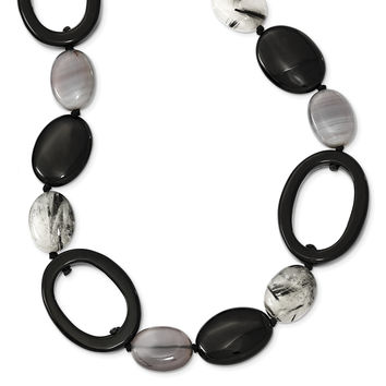 Sterling Silver Black Agate/Tourmalinated Quartz Necklace QH4521