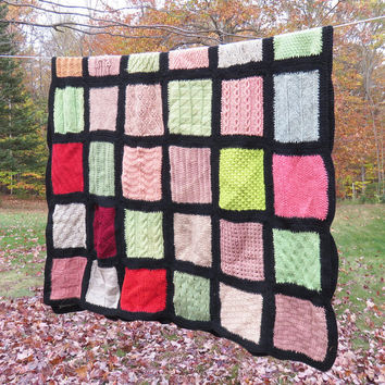 Vintage crochet afghan throw blanket with multicolored squares - Knitted rectangular afghan 61 x 41 in