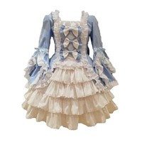 Solilor Sweet Comfortable Long Sleeves Lace Bowknot Blue Gothic Victorian Dress