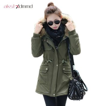 Casaco Feminino Hooded Winter Coat Women Army Military Wadded Cotton Md-long Thick Jacket 2015 New Waist Tunic Outerwear ZL3433