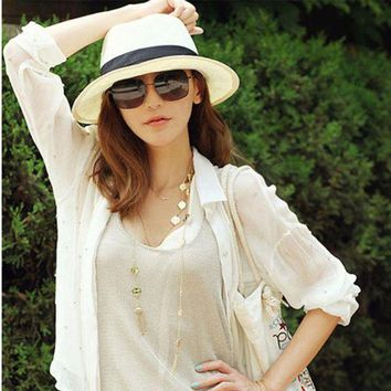 PEAP78W New Women's Summer Beach Trilby Straw  Wide Brim Beach Cap Sun Hat