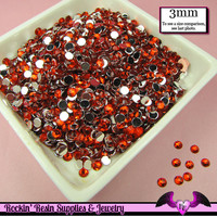 3mm RUBY RED RHINESTONES Flatback Great Quality / Decoden Crystal Phone Deco (300 pieces)