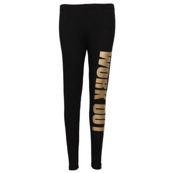PEAPON New Lady Popular Seamless Slim Leggings Letter Print Mid Waist Legging Jeggings 6 colors