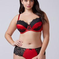 Satin & Lace Lightly Lined Balconette Bra | Lane Bryant