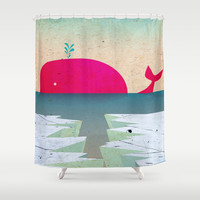 Whale southern Shower Curtain by Tony Vazquez