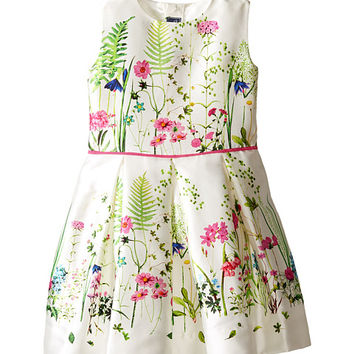 Oscar de la Renta Childrenswear Botanical Border Mikado Party Dress (Toddler/Little Kids/Big Kids)