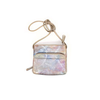 Tignanello iridescent rainbow pastel metallic leather purse  - crossbody organizer wallet bag