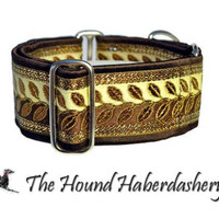 Martingale Collar: Metallic Vines Jacquard (2 Inch), Brown and Gold, Greyhound  Collar, Whippet Collar, Dog Collar, Custom Dog Collars