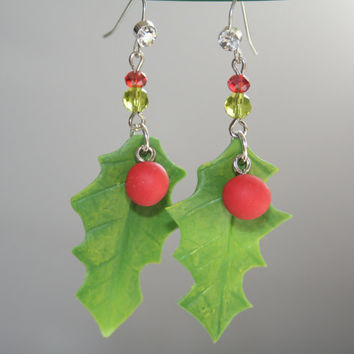 Christmas earrings, christmas jewelry, christmas gifts, holly berry earring, holiday earrings, jewelry gift, polymer clay earrings