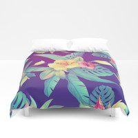 Tropical flowers Duvet Cover by printapix
